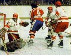 USSR's Vladislav Tretiak stops a near chance by Canada during the '74 exhibition series