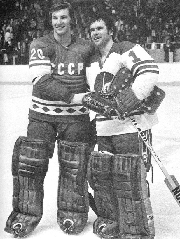 Russian legend Vladislav Tretiak and Winnipeg Jets' star Joe Daley pose before an international matchup in 1978