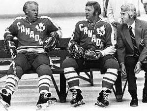 gordie howe, bobby hull and coach billy harris during the 74 summit series