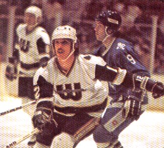 Mike Antonovich of the New England Whalers against the Quebec Nordiques